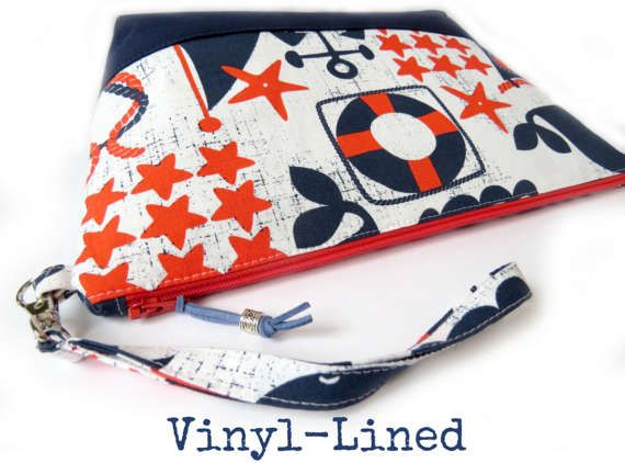 Vinyl-Lined Cosmetic Bag (Large) - Navy Red Nautical Ships Ahoy // Zipper Pouch  // Travel Bag // Toiletry Bag