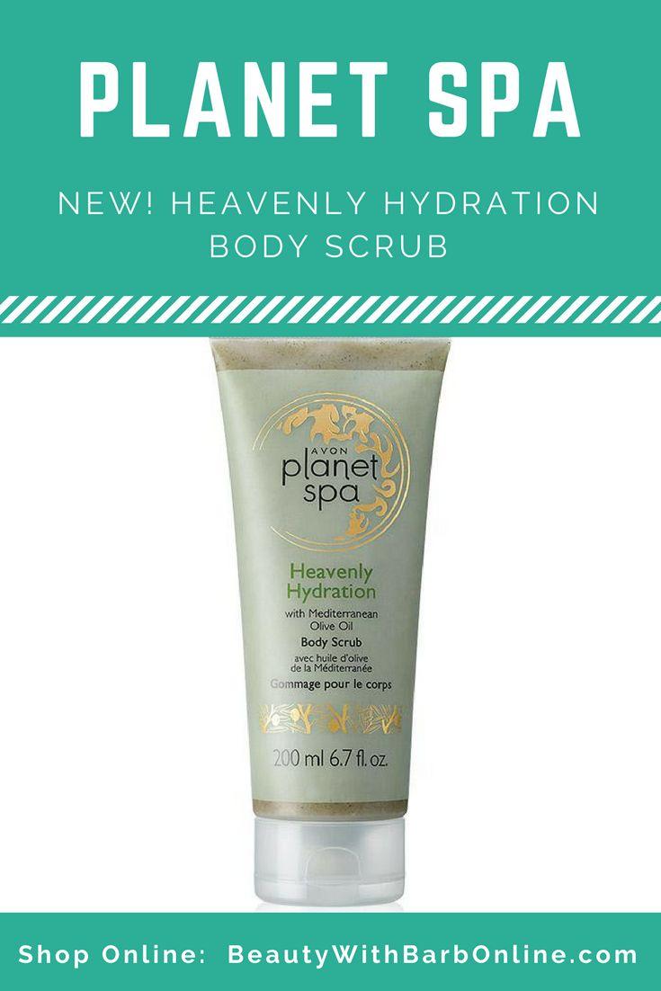 New!  Avon Planet Spa Heavenly Hydration Body Scrub with Mediterranean Olive Oil.  Campaign 17 2017 sales begin online 7/22/17.  Buy Avon Planet Spa products online at http://barbieb.avonrepresentative.com #avon #newavon #planetspa #bathandbody #homespaday #beautywithbarb