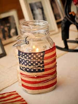 4th of July Crafts - mason jar and American flag with twine