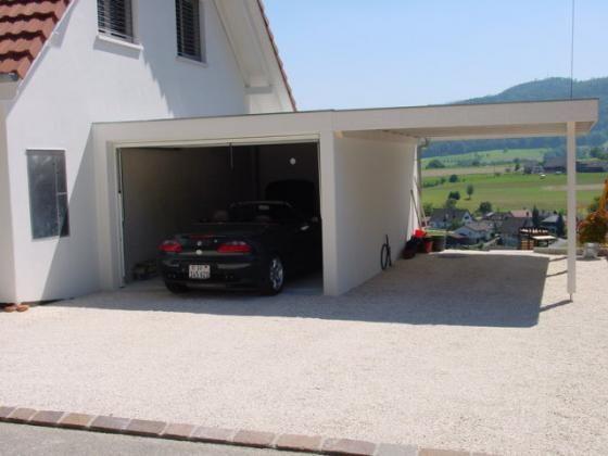 Garage préfabriqué avec abri à voiture latéral
