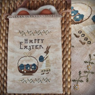 Easter Pouch / Primitive cross stitch pattern by TheSubRosaDesign