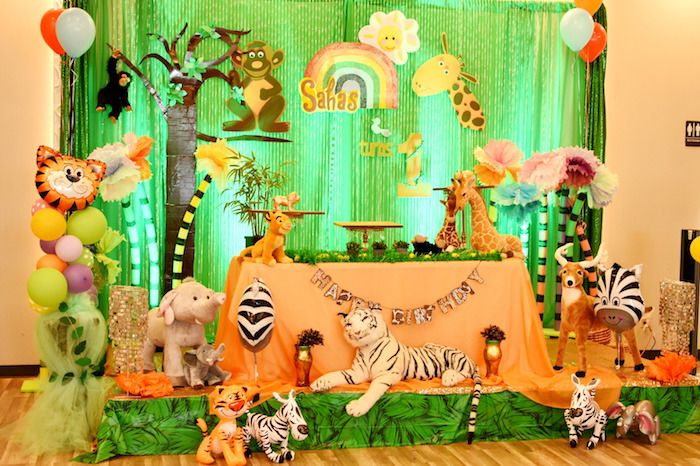 Jungle safari birthday party on kara 39 s party ideas for Animal print baby shower decoration ideas