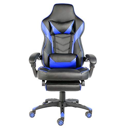 Lovinland Racing Chair Swivel Office Chair High Back Gaming Chair With Footrest Black Blue Gaming Chair Racing Chair Office Gaming Chair