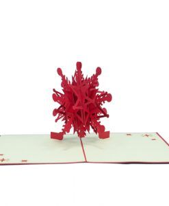The Christmas Décor pop up card has a red cover with a beautiful illustration Christmas snow flake. The image reveals a clue of what awaits inside. Upon opening the card and you will find a meticulous eye-popping pop up snowflake sculpture. We always leave the card blank so that you can personalize your own words.