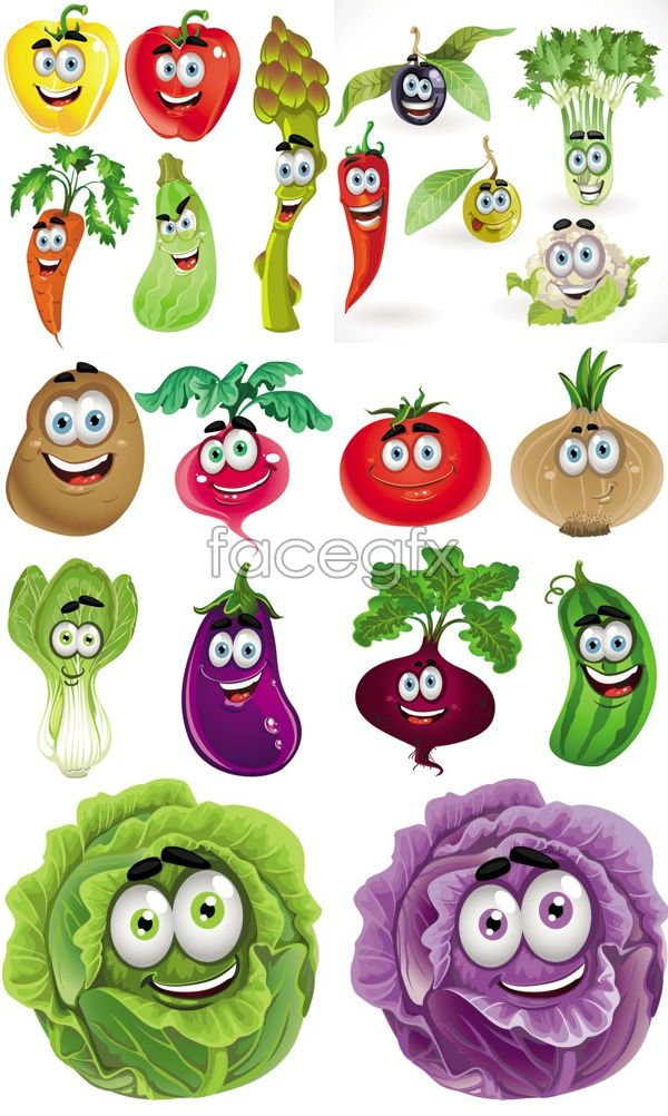 Free download Vegetable cartoon images vector. File include cartoon, vegetable, red peppers, celery, cauliflower, blueberries, potatoes, carrots, cabbage, eggpl