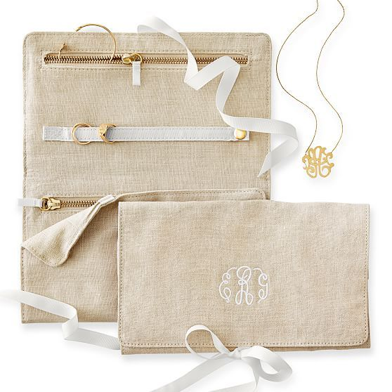 Typographer's Linen Jewelry Roll