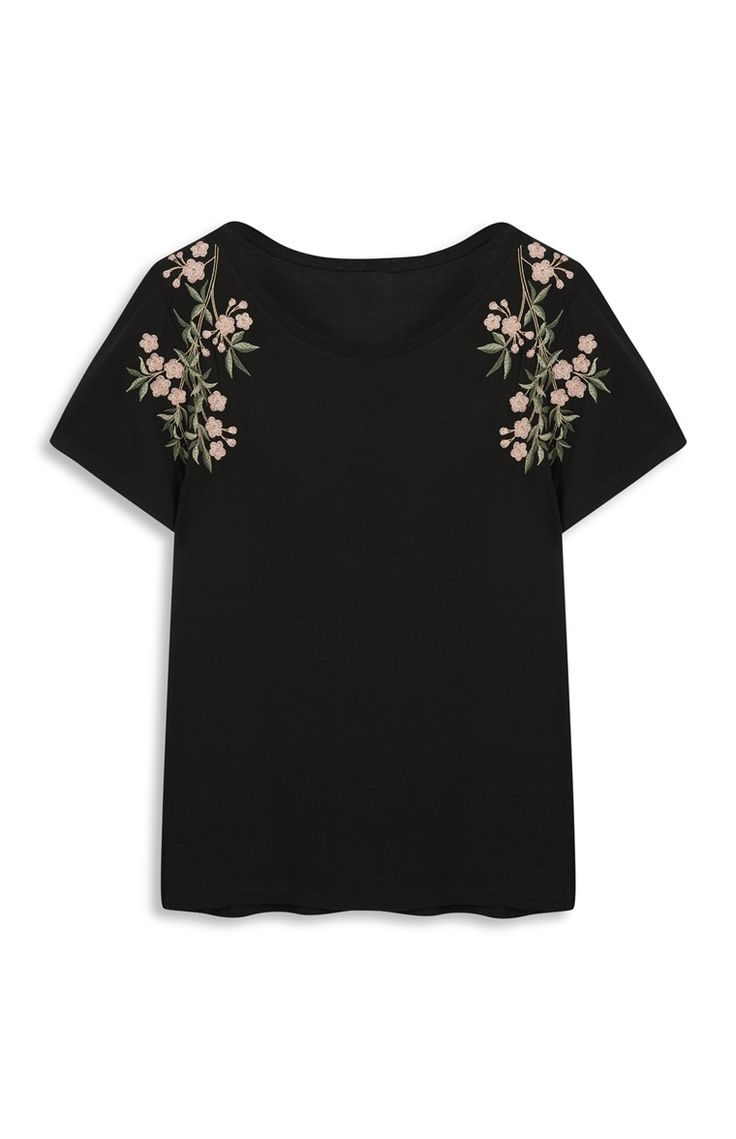 Primark - Black Floral Embroidery T-Shirt