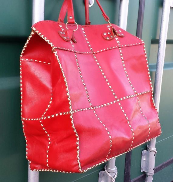 Vintage Large Red leather Tote shopper  / weekender holdall.