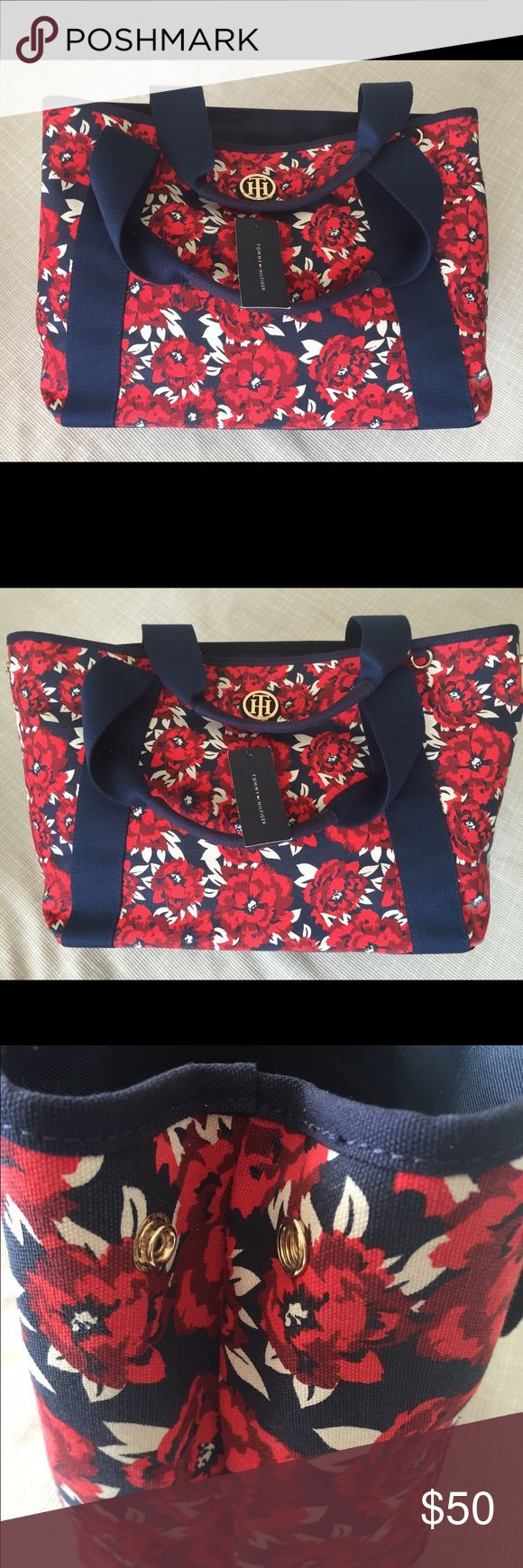 Tommy Hilfiger Floral Tote Bag Navy blue, red and off white. This floral Tommy Hilfiger canvas bag is perfect for the beach or lunch with friends! Grab this brand spankin' new beautiful bag for nearly half off retail price! 🌹🌹🌹🌹🌹🌹 Tommy Hilfiger Bags Totes