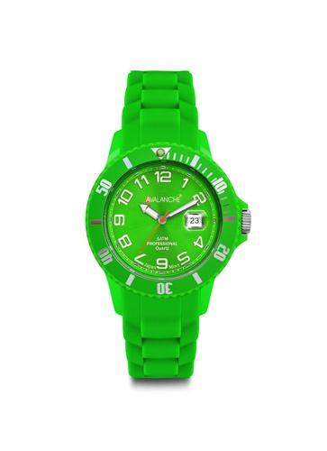 Avalanche Alpha Green Rubber Strap. Ρολόι Avalanche της σειράς Alpha σε πράσινο χρώμα και καντράν πράσινο με ασημί φωσφορίζοντες δείκτες και ενδείξεις. Avalanche Ρολόγια, Αργυρίου