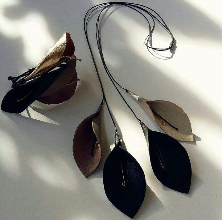 Handmade necklace & bracelet by L_L.♡ #handmade #handmadeingreece #necklaces #bracelet #design #leather #gold #grey #black #calliopil_l #L_L♡#greekdesigners #jewelrydesigner #jewelry