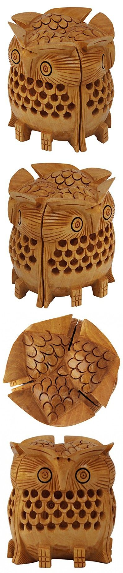 Tuesday Specials - SouvNear 3 Dimensional Wooden Owl Sculpture Hand Carved Bird Filigree Statuette & Figurines - Home & Office Decor Accessories