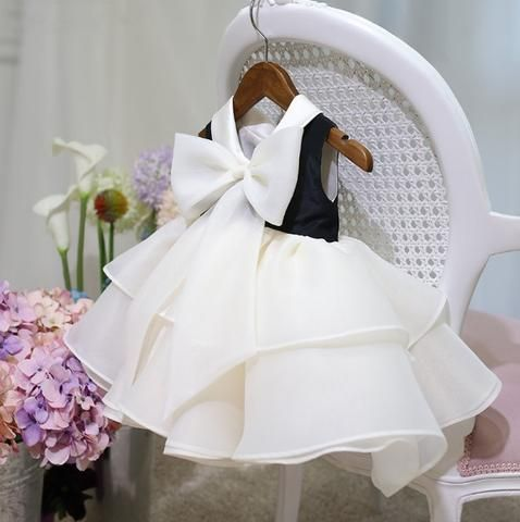 Girly Shop's Black and White Tiered Flower Girl Dress