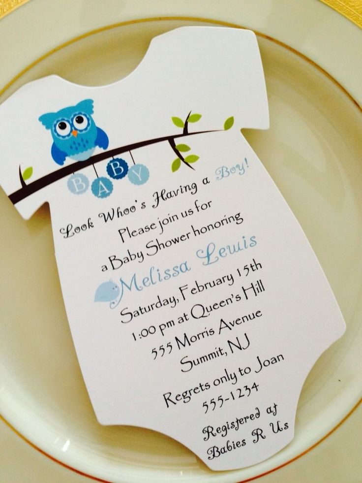 baby shower invitation for twins%0A Baby Shower Invitation Onesie Owl Theme For Boy  Printed on Matte Paper