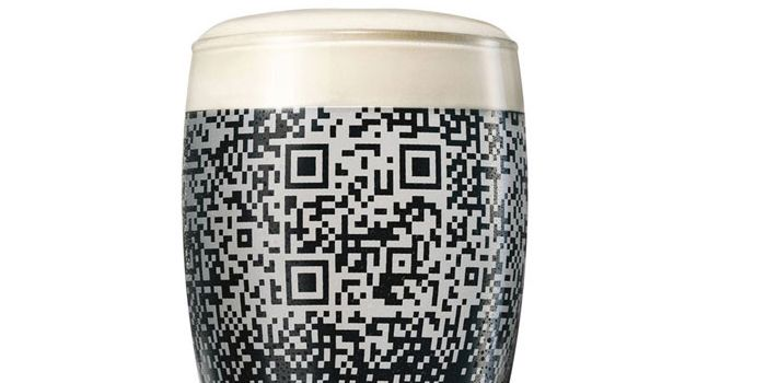 Guinness QR Cup    The Guinness QR Cup reveals itself only when the dark beer is poured into it.  Once there, the entire cup becomes your personal portal to all things social media!