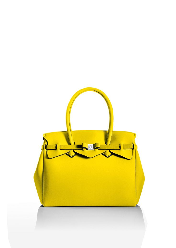 This iconic tote is available in over 30 colours to suit every style!   Light and versatile, the Miss bag is our collection's best seller. The covetable tote comes with a bow and interchangeable strap to make the bag customisable.  Size  340 x 290 x 180 mm  380g  Made in Italy  Vegan Friendly  Made from Poly-Lycra Fabric   Yellow