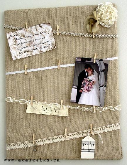 DIY Burlap Crafts : DIY Burlap Canvas: A pretty memory board for romantic keepsakes