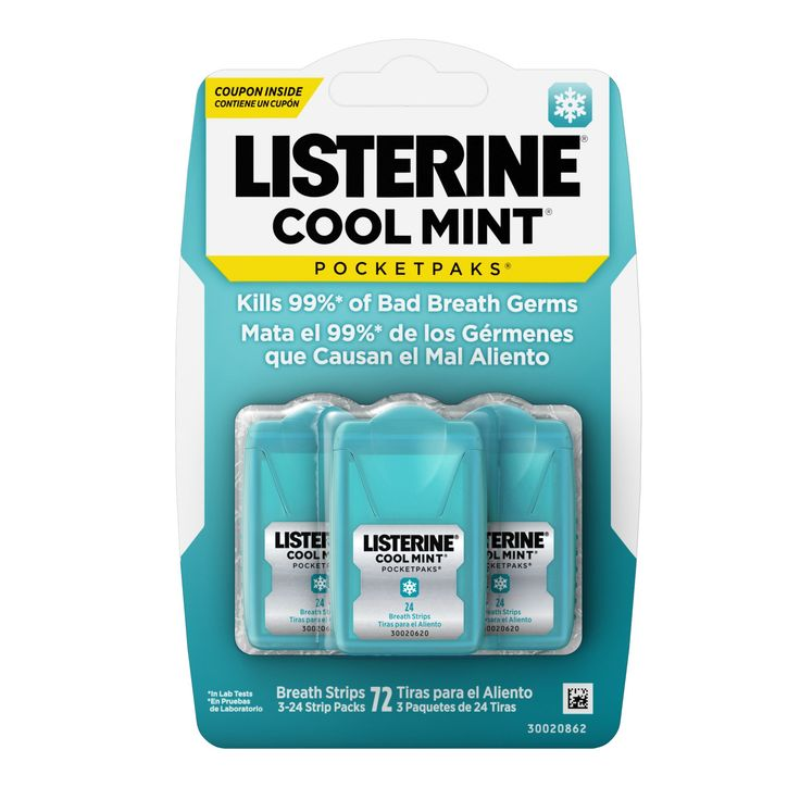 Listerine Cool Mint Pocketpacks Breath Strips Kills Bad Breath Germs - 24 Strip Pack - 3pk