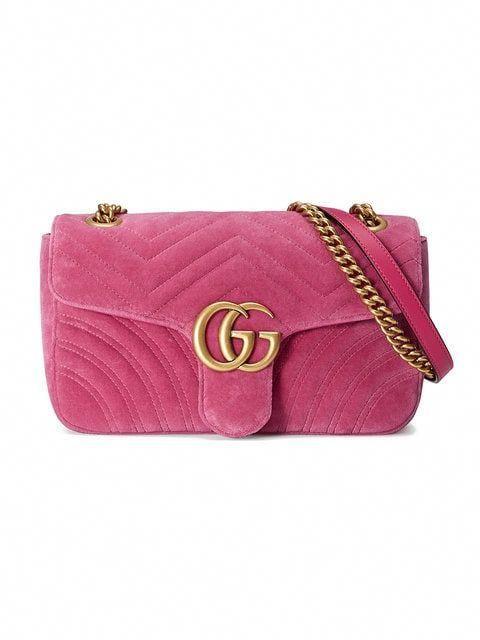 fba3ba0f37f7 Shop Gucci GG Marmont Chevron velvet shoulder bag #Hermeshandbags ...