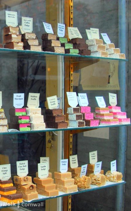 Fudge shop in Padstow, Cornwall, England: the fudge is displayed in the shopwindow.