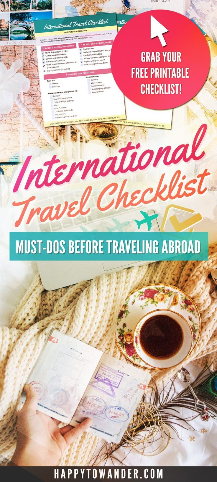 THE best predeparture checklist for International Travel. If you plan to be traveling abroad, you need to save this list! It breaks down all the important things you need to do before you travel 3 months, 1 month, 1 week, 1 day and the day-of your departure. This International Travel checklist is a must for staying organized!