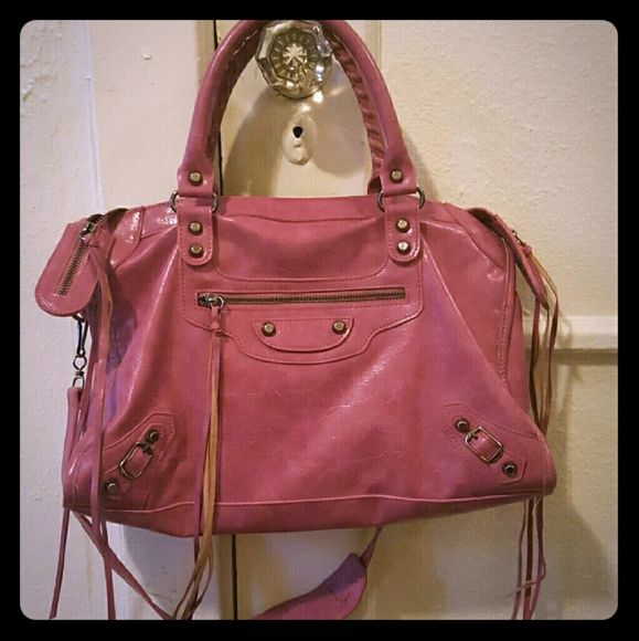 MAKE OFFERS balenciaga city bag see comments Pinkish purple color. Vegan leather.  Much much lower offers considered. Balenciaga Bags Shoulder Bags