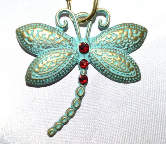 Verdigris Dragonfly Shower Curtain Hooks Blue Green Patina On