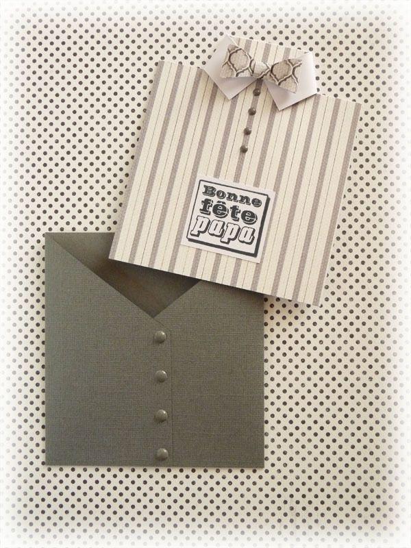 """Je me suis amusée à créer pour la fête des pères, une carte que je trouve très originale... Il n'y a pas besoin de matériel sophistiqué pour la réaliser (juste une règle, un cutter et un plioir !). Crédits : Tampon transparent """"bonne fête papa"""" Artemio..."""