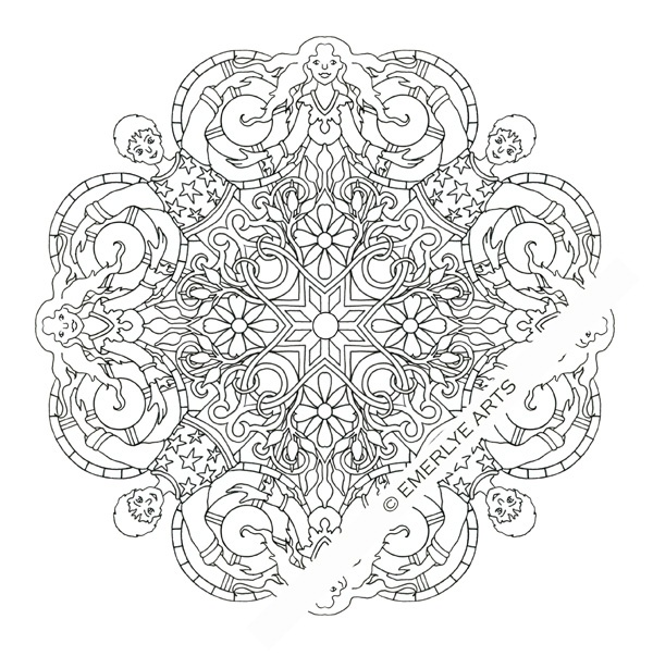 """Yin Yang Couple Mandala"" adult coloring page. Printable ..."