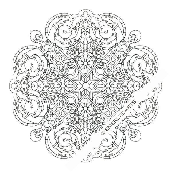 Yin Yang Couple Mandala Adult Coloring Page Printable Download