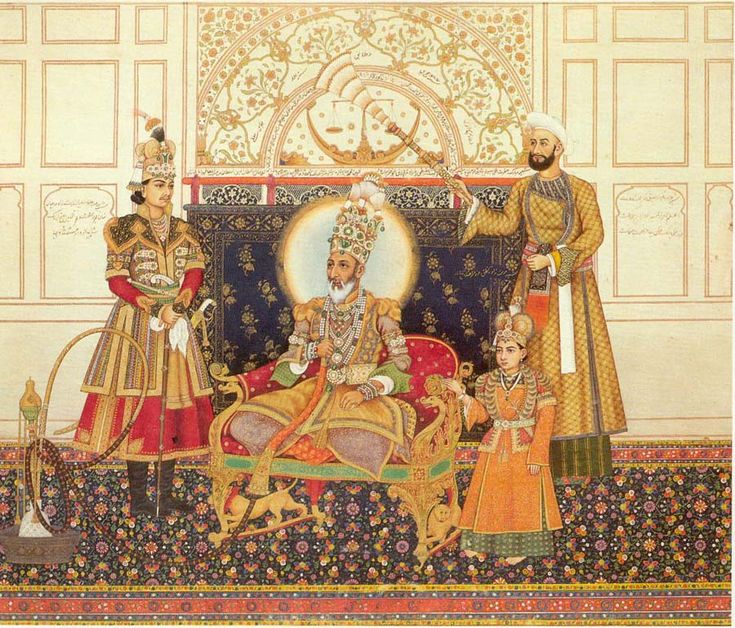 The Last Mughal Emperor, Bahadur Shah II, with Two Sons; The Heir Apparent, Fakhrud-din Mirza at His Right, and Mirza Farkhanda. Mughal, North India, Delhi, dated in the month of Rabi I, A.H. 1254 (May-June 1838): 32 x 38 cm. Private collection.