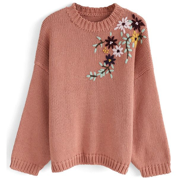 Chicwish Flowering Branch Chunky Knit Sweater in Coral ($55) ❤ liked on Polyvore featuring tops, sweaters, pink, coral sweater, pastel pink sweater, chunky knit sweater, flower sweater and coral top