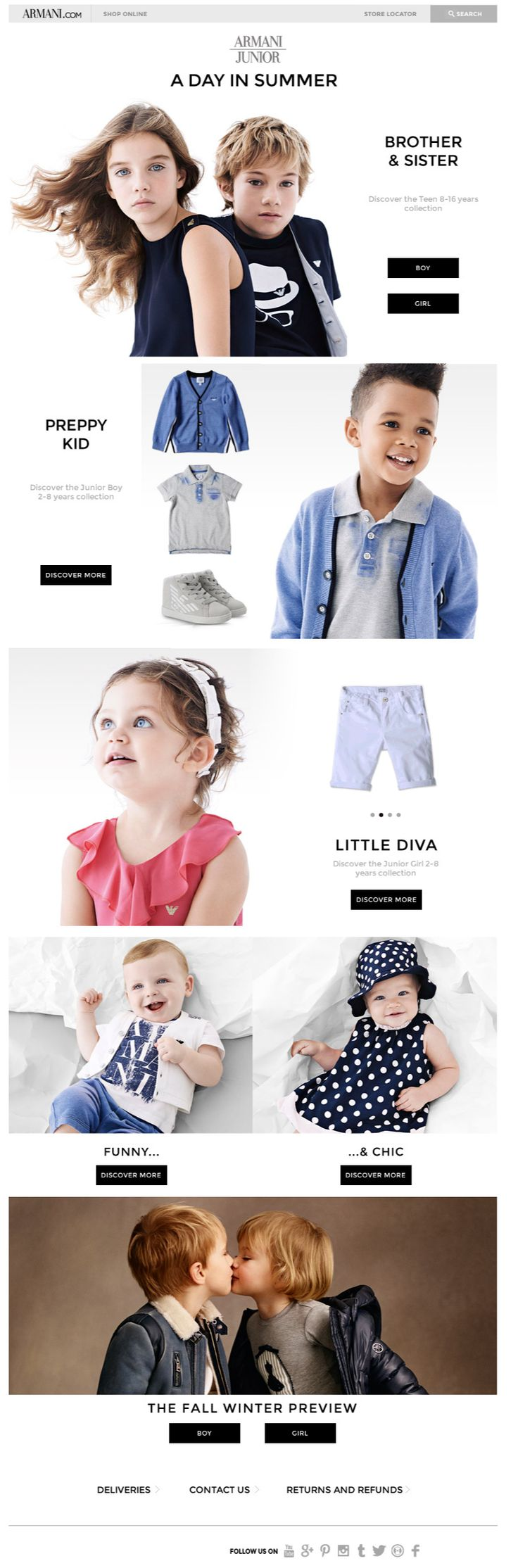 Armani Junior; newsletter, email marketing, design. / could use it as type of shopper and show products associated