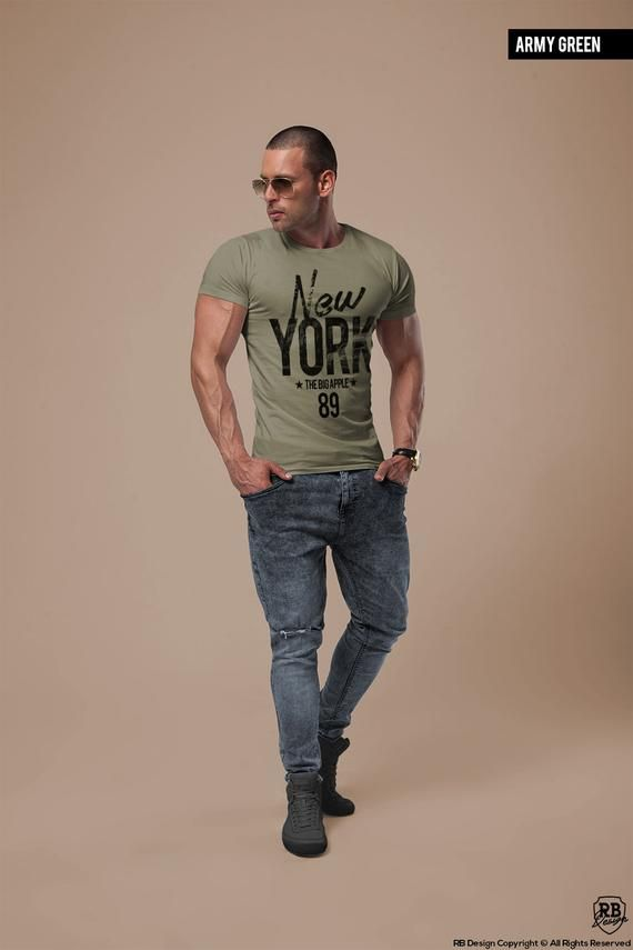 12ed4f05f02 Men s Muscle Fit T-shirt Scoop neck Tshirt New York Tee Trending Fashion  Shirts Cool Mens Tops Bran