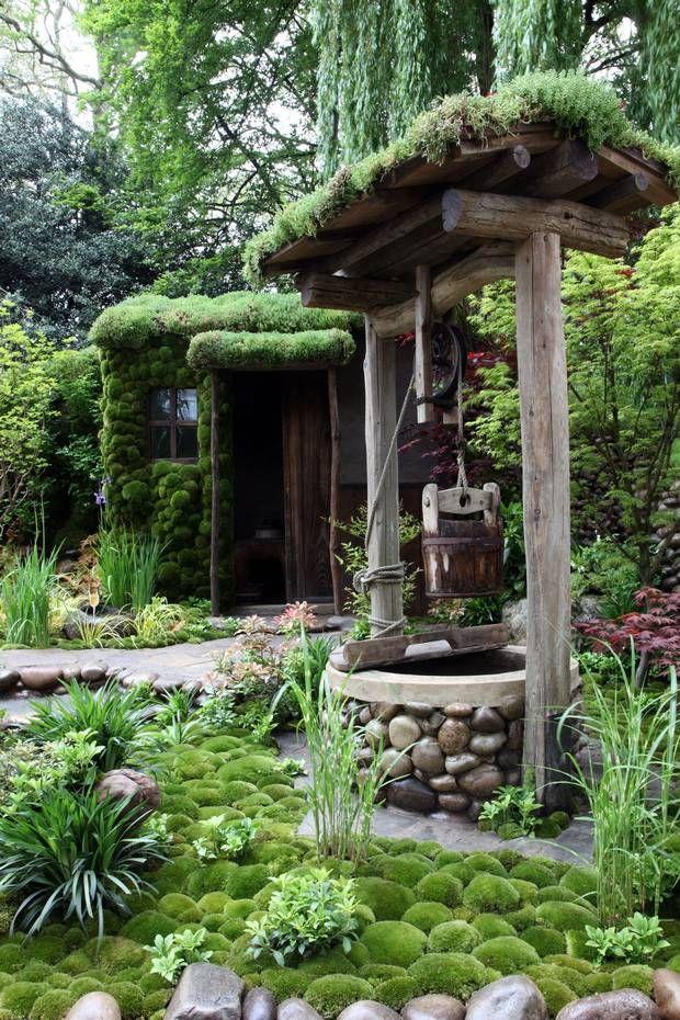 Round rocks, beams, and moss