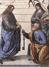 Jesus passing the keys of the church to St. Peter  Symbol Dictionary.net - A Visual Glossary symboldictionary.net
