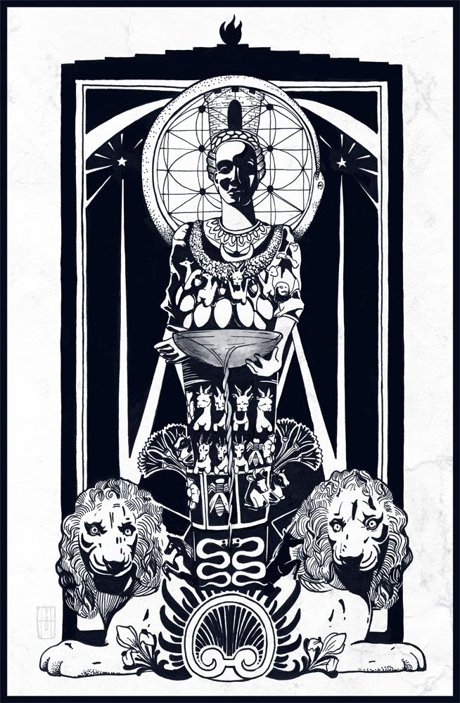 """""""Artemisa"""" Ilustración de Martillo, ink"""