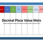 "Decimal Place Value Mats: These 8.5x14"" mats can be used to introduce the concept of decimal place values and their names, adding and subtracting decimals, and more. $"