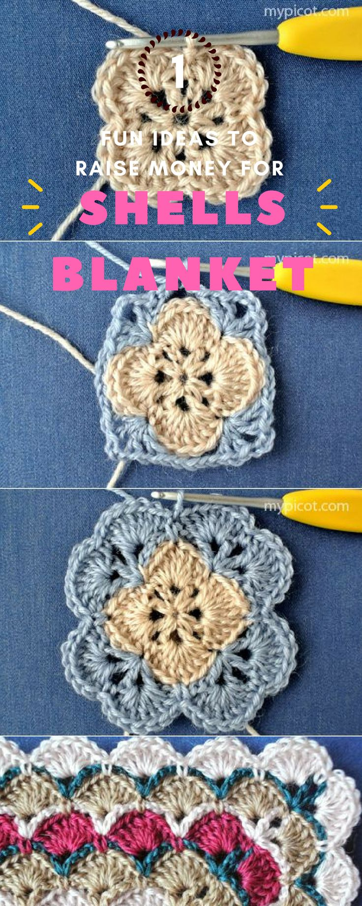 ☛ Beautiful Shells Baby Blankets - Free Patterns