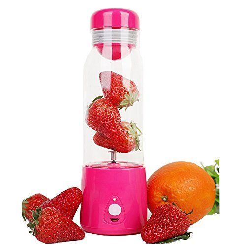 SUNKY  Electric Personal Blender Juicer Cup Fruit Infuser Water Bottle Small Whirlwind Rechargeable Electric Juicer Juice Cup Convenient Automatic Mixing Bottle Lemonade Ice Tea  Rose Red *** More info could be found at the image url.