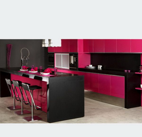 Contemporary Kitchen Design With Pink Black Style And Stylish Worktop