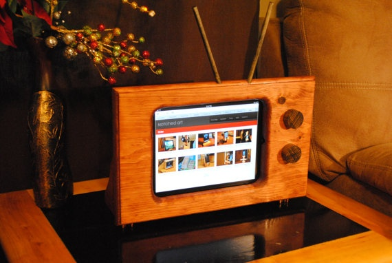 Handmade wooden classic style TV stand for Apple by NotchedArt, $85.00