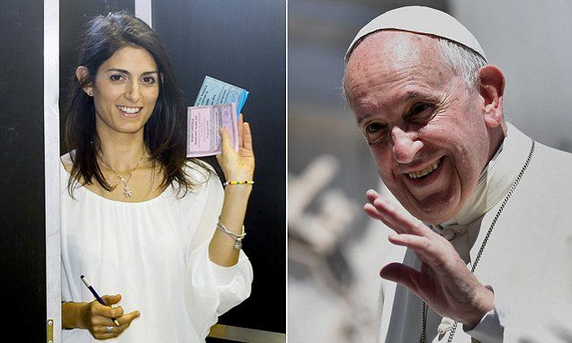 Sorting out the Pope and Mafia in Rome: Rome has elected the first female mayor in its 3,000-year history with the 37-year-old lawyer vowing to take on the Pope and the Mafia.   Virginia Raggi of the 5-Star protest movement stormed to victory after capitalising on anger over political corruption and deteriorating services in the Italian capital