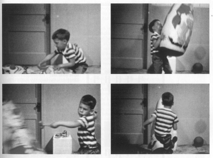 "SOCIAL LEARNING THEORY (BANDURA'S BOBO DOLL EXPERIMENT)/ORIGIN: In his experiment, Albert Bandura showed how people can learn new behaviors by observing those of others; the little child imitated the adult's violent actions to the bobo doll. EXPLANATION: The Bobo Doll Experiment can refer to how people can influence the behaviors of others by their mere actions. EXAMPLE: Josh's parents ""taught"" him to yell at his friends like the adult ""taught"" the kids beat up Bandura's Bobo Doll."