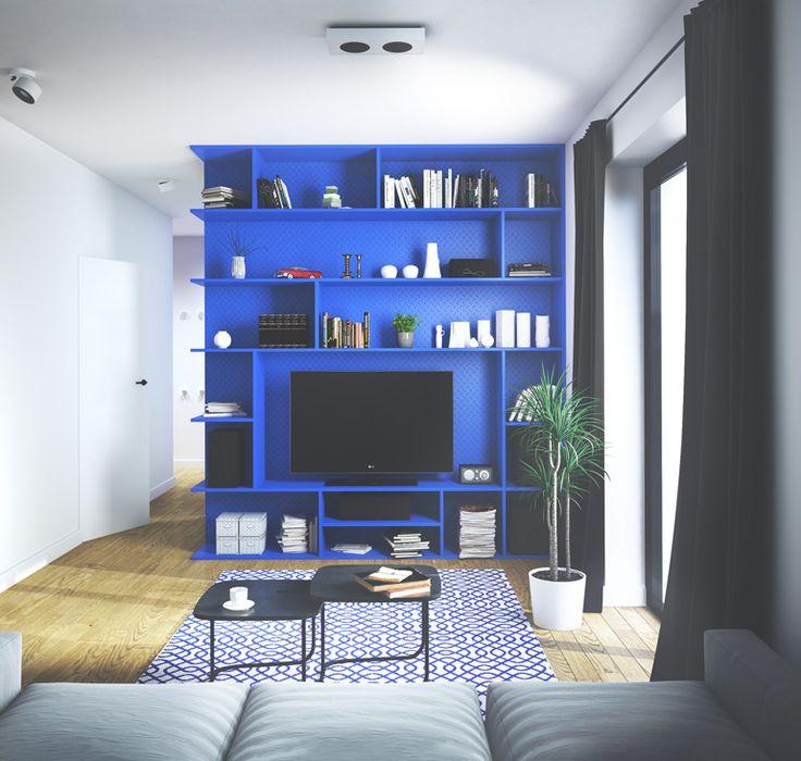 Interior design with blue furniture, subaru impreza, blue Tv Cabinet Design, Modern Tv Cabinet, Tv Wall Design, Tv Unit Design, blue Shelves, Floating Shelves, Tv Cabinets, blue Cabinets, brilliant blue. interior, flat, design, wood flooring,