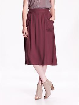 Wine Purple Twill Midi Skirt, $30 @ Old Navy