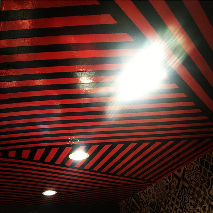 Some of my interior design work, Red and black pattern for ceiling. Anua Restaurant in Mexico City. #lines #mezcaleria