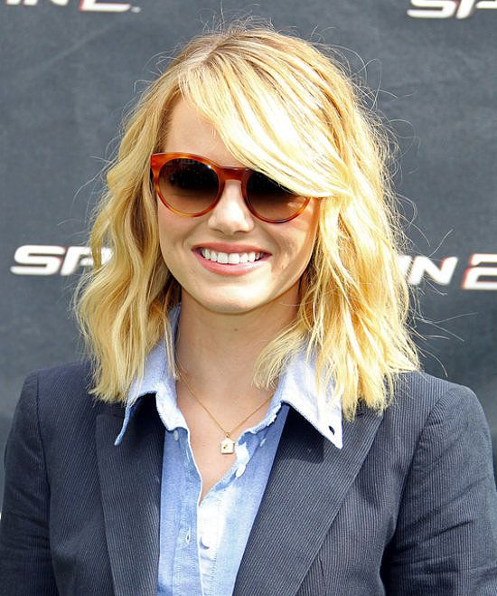 Emma Stone Tousled Blonde Lob Long Bob Lobs
