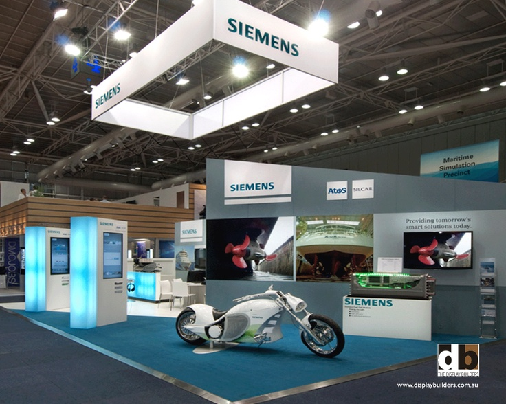 Siemens @ Pacific 2012.  Don't forget about the area above your stand.  Perfect for getting visibility a long way back in the exhibit hall.