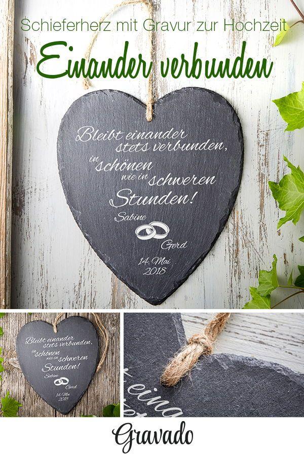 Schieferherz Zur Hochzeit Silberne Hochzeit Geschenk